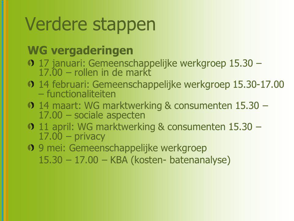 Verdere stappen WG vergaderingen 17 januari: Gemeenschappelijke werkgroep 15.30 – 17.00 – rollen in de markt 14 februari: Gemeenschappelijke werkgroep 15.30-17.00 – functionaliteiten 14 maart: WG marktwerking & consumenten 15.30 – 17.00 – sociale aspecten 11 april: WG marktwerking & consumenten 15.30 – 17.00 – privacy 9 mei: Gemeenschappelijke werkgroep 15.30 – 17.00 – KBA (kosten- batenanalyse)