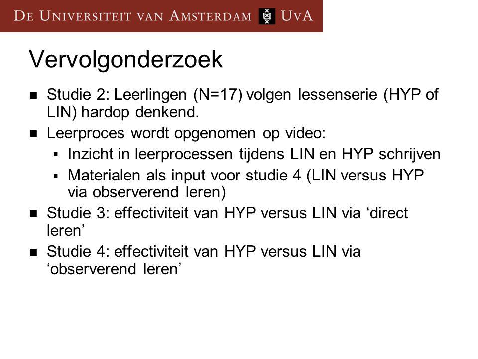 Vervolgonderzoek Studie 2: Leerlingen (N=17) volgen lessenserie (HYP of LIN) hardop denkend. Leerproces wordt opgenomen op video:  Inzicht in leerpro