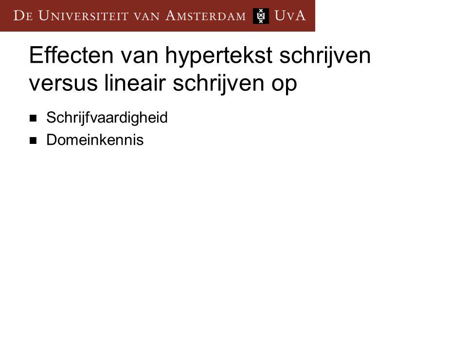 Effecten van hypertekst schrijven versus lineair schrijven op Schrijfvaardigheid Domeinkennis