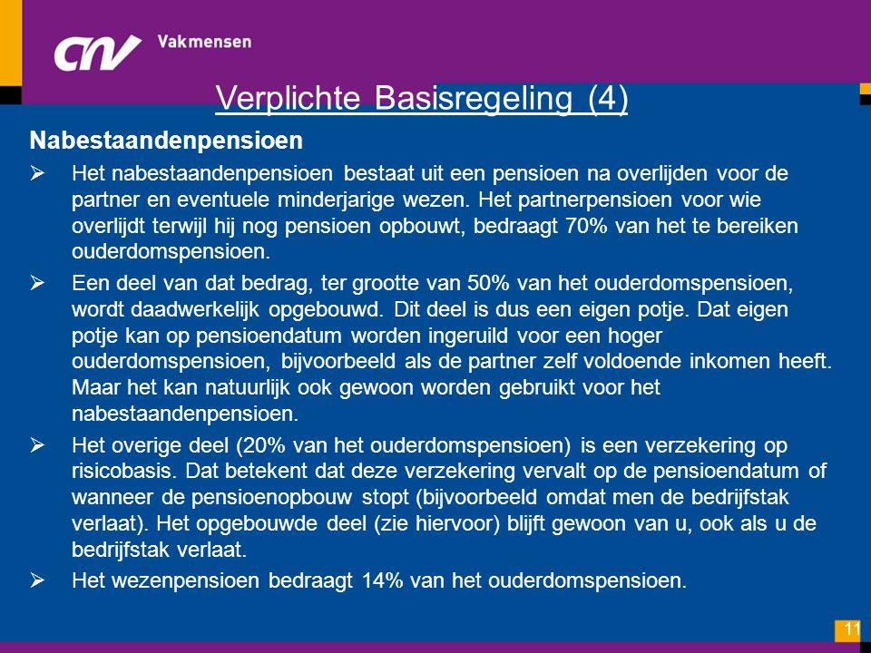 Verplichte Basisregeling (4) Nabestaandenpensioen  Het nabestaandenpensioen bestaat uit een pensioen na overlijden voor de partner en eventuele minde