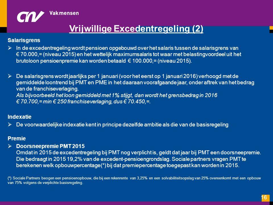 Vrijwillige Excedentregeling (2) Salarisgrens  In de excedentregeling wordt pensioen opgebouwd over het salaris tussen de salarisgrens van € 70.000,=