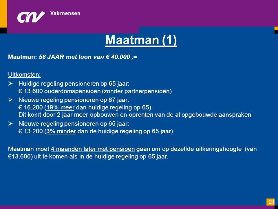 Maatman (1) Maatman: 58 JAAR met loon van € 40.000,= Uitkomsten:  Huidige regeling pensioneren op 65 jaar: € 13.600 ouderdomspensioen (zonder partner