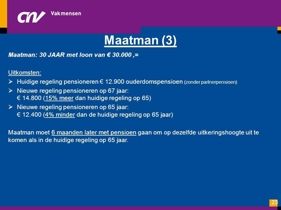 Maatman (3) Maatman: 30 JAAR met loon van € 30.000,= Uitkomsten:  Huidige regeling pensioneren € 12.900 ouderdomspensioen (zonder partnerpensioen) 