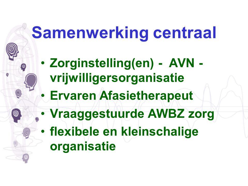 Samenwerking centraal Zorginstelling(en) - AVN - vrijwilligersorganisatie Ervaren Afasietherapeut Vraaggestuurde AWBZ zorg flexibele en kleinschalige