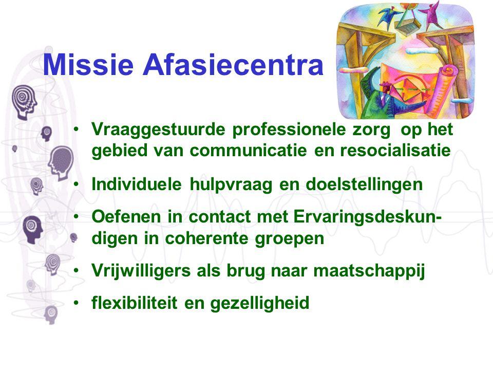 Missie Afasiecentra Vraaggestuurde professionele zorg op het gebied van communicatie en resocialisatie Individuele hulpvraag en doelstellingen Oefenen