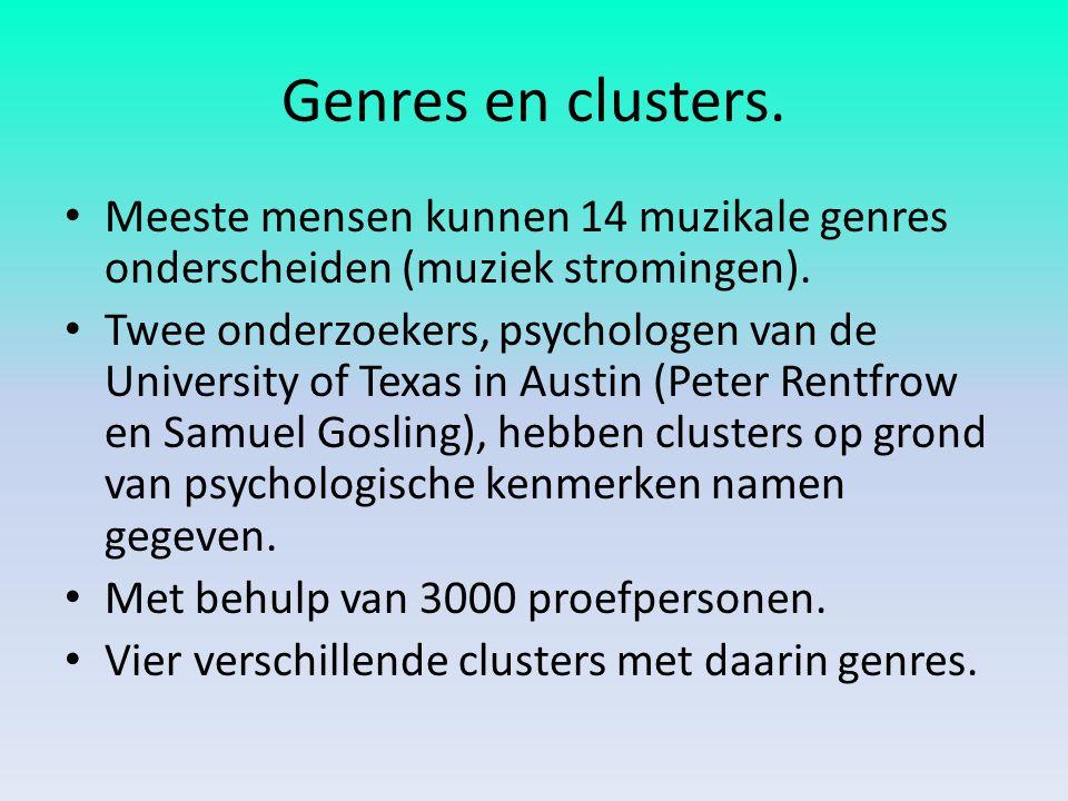 Genres en clusters. Meeste mensen kunnen 14 muzikale genres onderscheiden (muziek stromingen). Twee onderzoekers, psychologen van de University of Tex