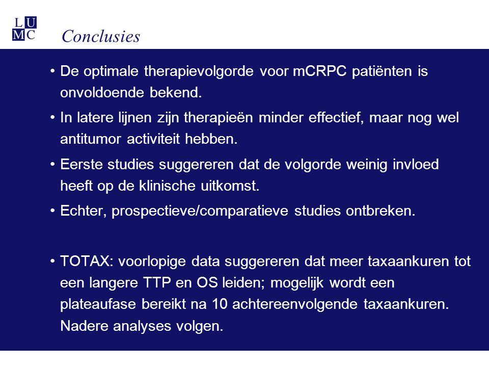 Conclusies De optimale therapievolgorde voor mCRPC patiënten is onvoldoende bekend. In latere lijnen zijn therapieën minder effectief, maar nog wel an
