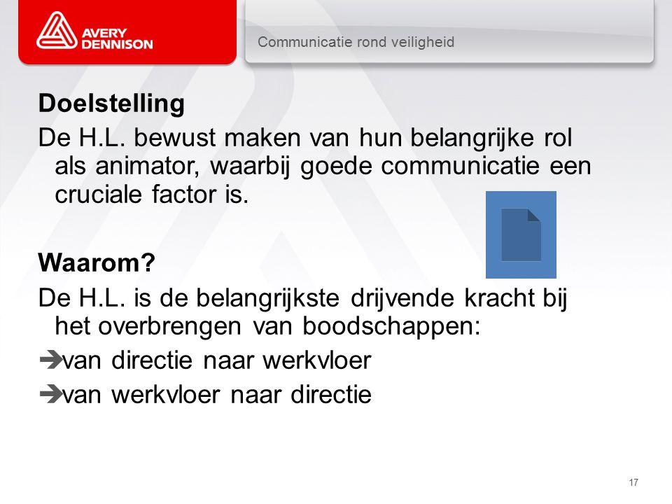 Communicatie rond veiligheid 17 Doelstelling De H.L.
