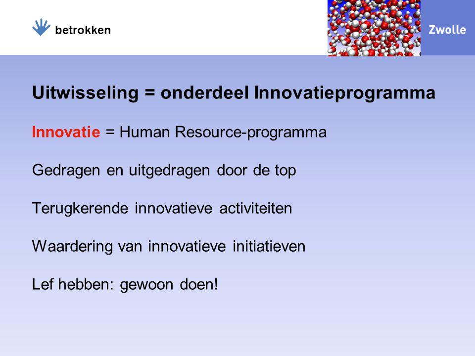 Uitwisseling = onderdeel Innovatieprogramma Innovatie = Human Resource-programma Gedragen en uitgedragen door de top Terugkerende innovatieve activiteiten Waardering van innovatieve initiatieven Lef hebben: gewoon doen.