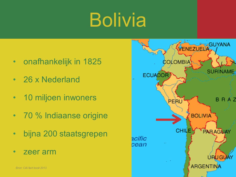onafhankelijk in 1825 26 x Nederland 10 miljoen inwoners 70 % Indiaanse origine bijna 200 staatsgrepen zeer arm Bron: CIA fact book 2013 Bolivia