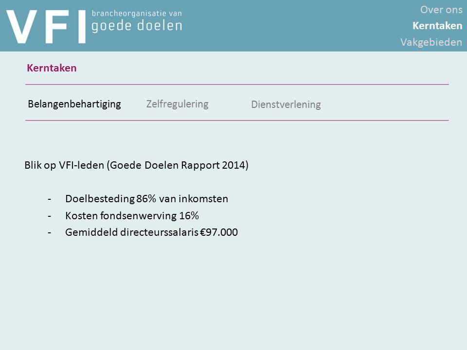 Blik op VFI-leden (Goede Doelen Rapport 2014) -Doelbesteding 86% van inkomsten -Kosten fondsenwerving 16% -Gemiddeld directeurssalaris €97.000 Belange