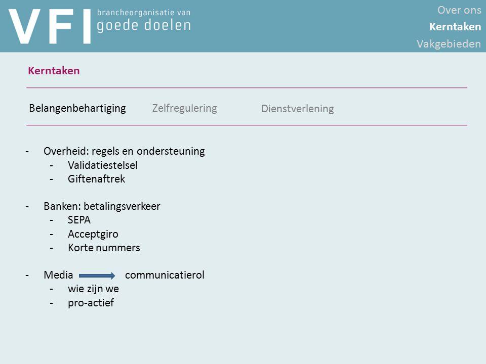 -Overheid: regels en ondersteuning -Validatiestelsel -Giftenaftrek -Banken: betalingsverkeer -SEPA -Acceptgiro -Korte nummers -Media communicatierol -