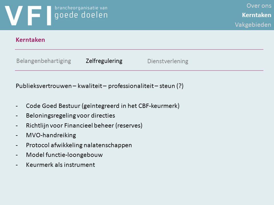 Publieksvertrouwen – kwaliteit – professionaliteit – steun (?) -Code Goed Bestuur (geïntegreerd in het CBF-keurmerk) -Beloningsregeling voor directies