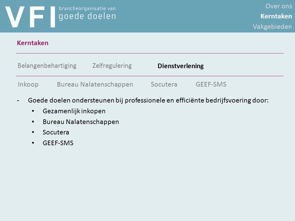 Over ons Kerntaken Vakgebieden Kerntaken Belangenbehartiging Zelfregulering Dienstverlening -Goede doelen ondersteunen bij professionele en efficiënte