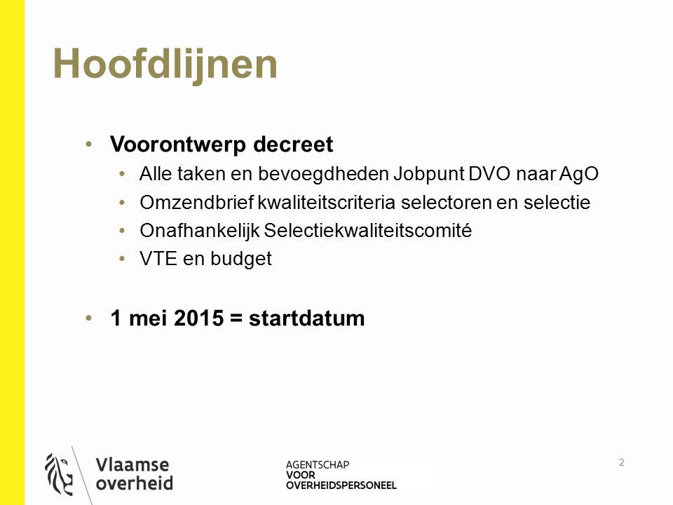 Overname door AgO In deelprojecten: decentrale betrokkenheid quick wins Fasering: 1.overnemen taken / garanderen dienstverlening (1 mei 2015) 2.optimalisering R&S Vlaamse overheid (2016) Werkingsmodel centrale financiering externe prestaties worden doorgerekend 3