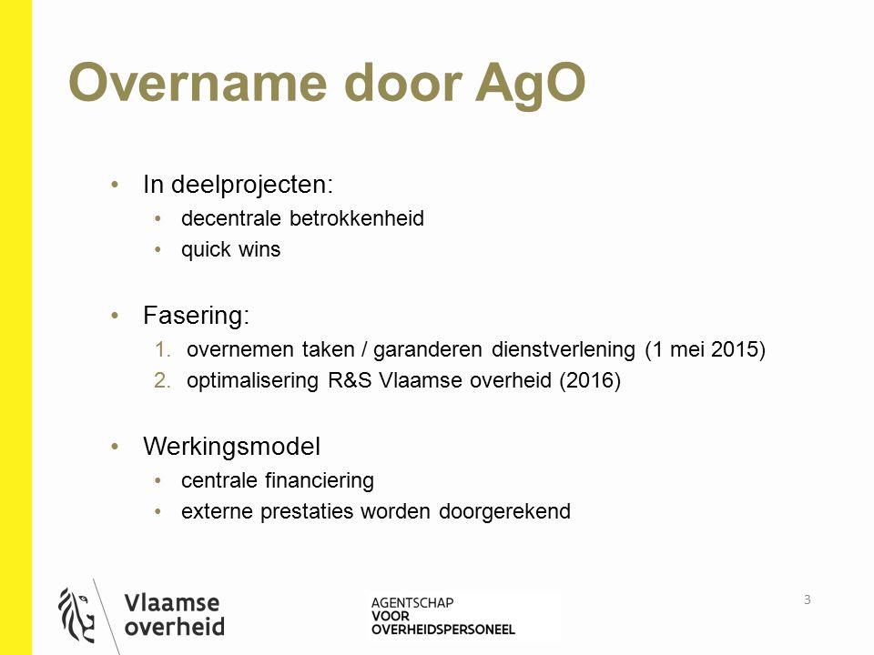 Overname door AgO In deelprojecten: decentrale betrokkenheid quick wins Fasering: 1.overnemen taken / garanderen dienstverlening (1 mei 2015) 2.optima