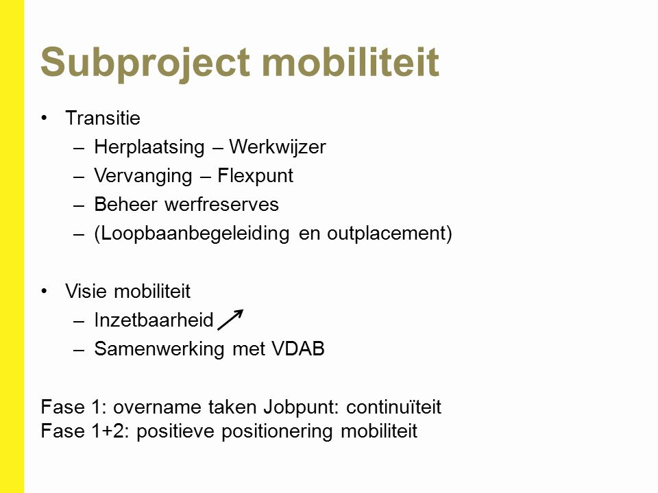 Subproject mobiliteit Transitie –Herplaatsing – Werkwijzer –Vervanging – Flexpunt –Beheer werfreserves –(Loopbaanbegeleiding en outplacement) Visie mo