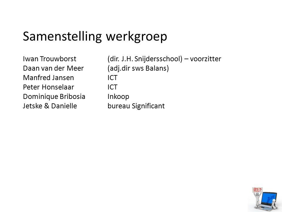 Samenstelling werkgroep Iwan Trouwborst (dir. J.H. Snijdersschool) – voorzitter Daan van der Meer(adj.dir sws Balans) Manfred JansenICT Peter Honselaa