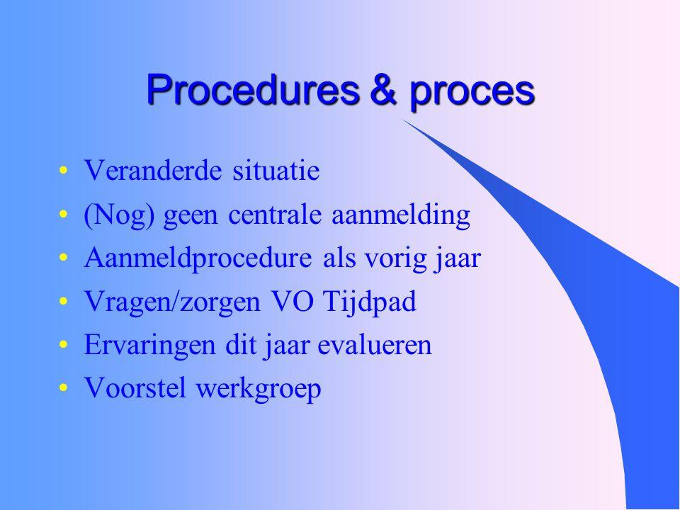 Procedures & proces Veranderde situatie (Nog) geen centrale aanmelding Aanmeldprocedure als vorig jaar Vragen/zorgen VO Tijdpad Ervaringen dit jaar ev