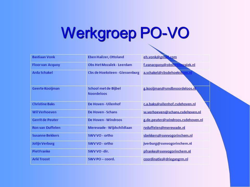 Werkgroep PO-VO Bastiaan VonkEben Haëzer, Ottolandeh.vonk@gmail.com Floor van AcquoyObs Het Mozaïek - Leerdamf.vanacquoy@obshetmozaiek.nl Arda Schakel