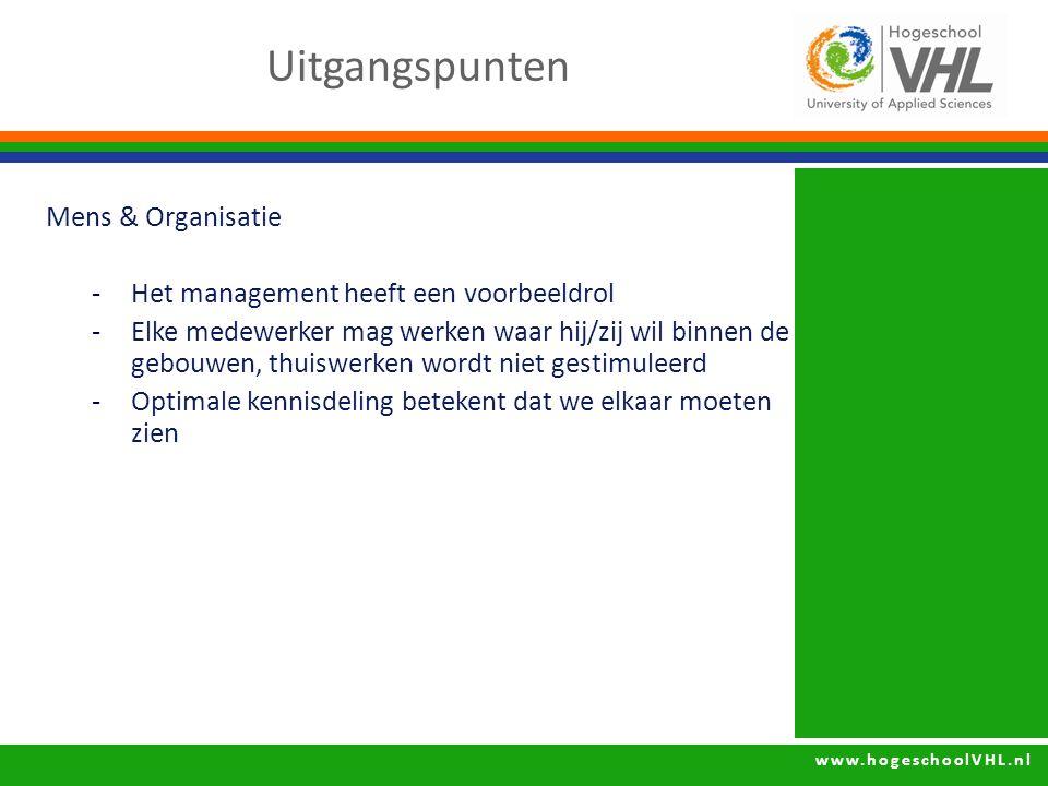 www.hogeschoolVHL.nl Mens & Organisatie -Het management heeft een voorbeeldrol -Elke medewerker mag werken waar hij/zij wil binnen de gebouwen, thuiswerken wordt niet gestimuleerd -Optimale kennisdeling betekent dat we elkaar moeten zien Uitgangspunten