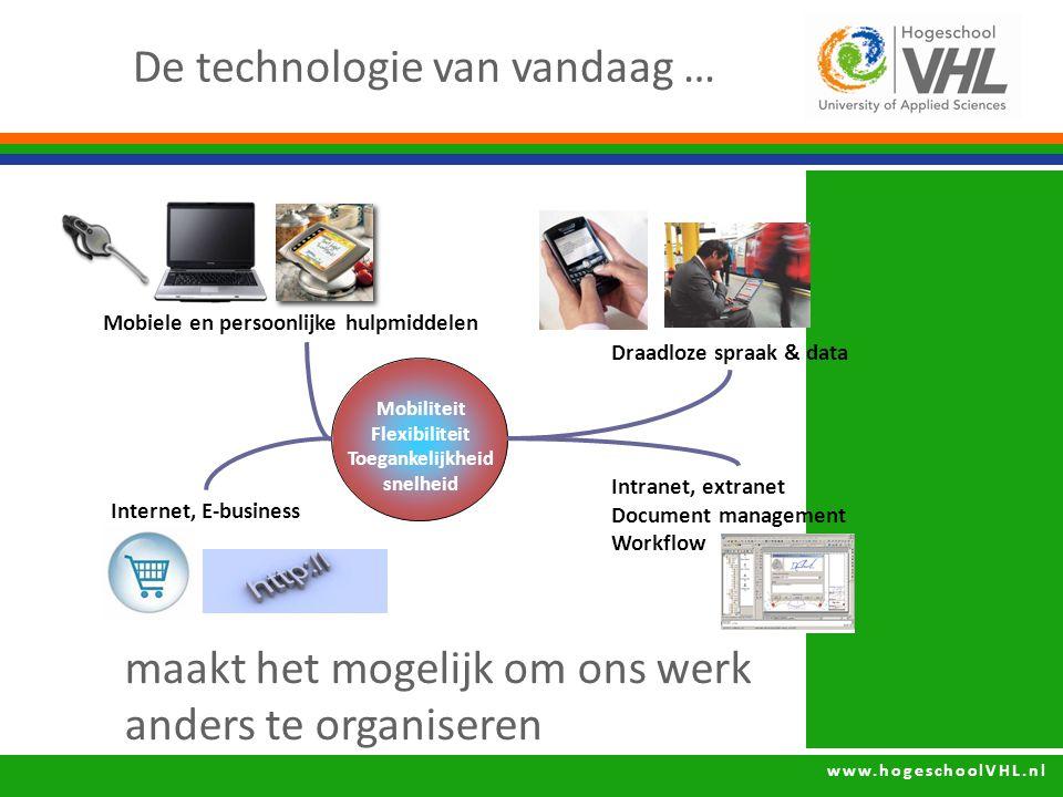 www.hogeschoolVHL.nl De technologie van vandaag … Mobiele en persoonlijke hulpmiddelen Intranet, extranet Document management Workflow Internet, E-business Mobiliteit Flexibiliteit Toegankelijkheid snelheid Draadloze spraak & data maakt het mogelijk om ons werk anders te organiseren