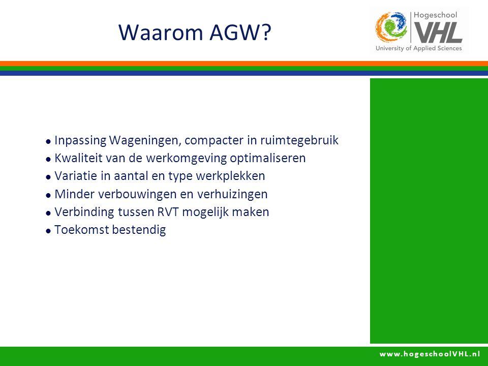 www.hogeschoolVHL.nl Waarom AGW? Inpassing Wageningen, compacter in ruimtegebruik Kwaliteit van de werkomgeving optimaliseren Variatie in aantal en ty
