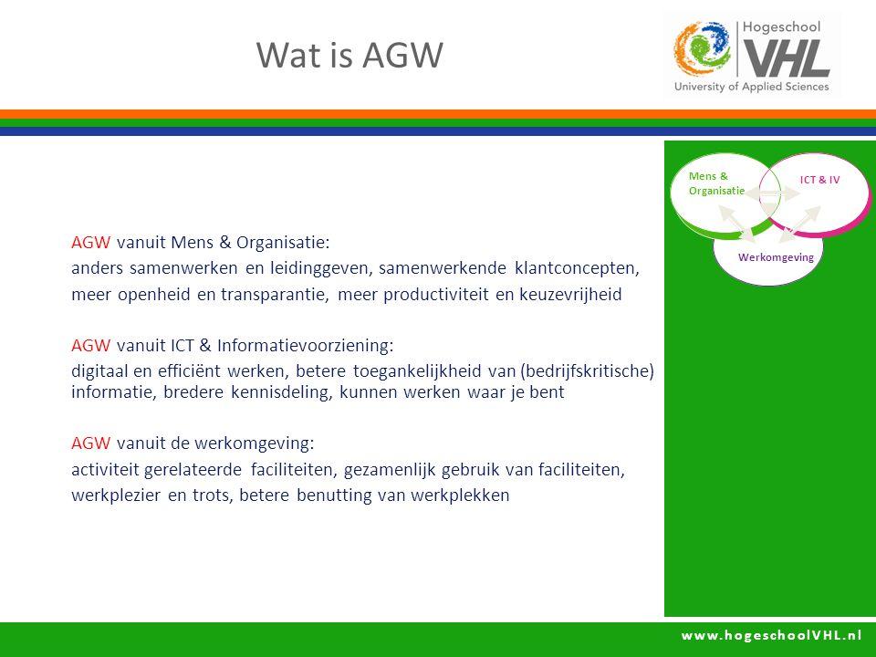 www.hogeschoolVHL.nl AGW vanuit Mens & Organisatie: anders samenwerken en leidinggeven, samenwerkende klantconcepten, meer openheid en transparantie, meer productiviteit en keuzevrijheid AGW vanuit ICT & Informatievoorziening: digitaal en efficiënt werken, betere toegankelijkheid van (bedrijfskritische) informatie, bredere kennisdeling, kunnen werken waar je bent AGW vanuit de werkomgeving: activiteit gerelateerde faciliteiten, gezamenlijk gebruik van faciliteiten, werkplezier en trots, betere benutting van werkplekken Wat is AGW Mens & Organisatie ICT & IV Werkomgeving