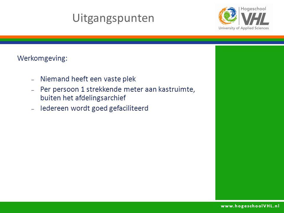 www.hogeschoolVHL.nl Werkomgeving: – Niemand heeft een vaste plek – Per persoon 1 strekkende meter aan kastruimte, buiten het afdelingsarchief – Iedereen wordt goed gefaciliteerd Uitgangspunten
