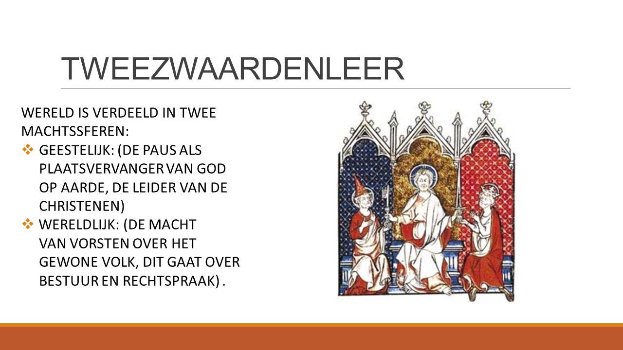 TWEEZWAARDENLEER WERELD IS VERDEELD IN TWEE MACHTSSFEREN:  GEESTELIJK: (DE PAUS ALS PLAATSVERVANGER VAN GOD OP AARDE, DE LEIDER VAN DE CHRISTENEN) 