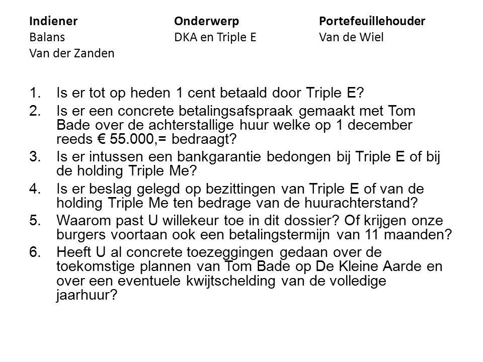 IndienerOnderwerpPortefeuillehouder BalansDKA en Triple EVan de Wiel Van der Zanden 1.Is er tot op heden 1 cent betaald door Triple E.