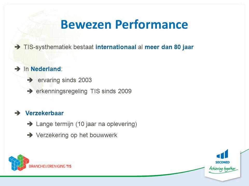 Bewezen Performance  TIS-systhematiek bestaat internationaal al meer dan 80 jaar  In Nederland:  ervaring sinds 2003  erkenningsregeling TIS sinds