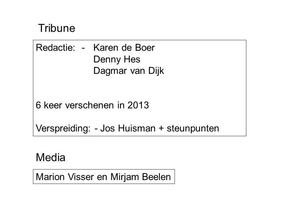 Redactie: - Karen de Boer Denny Hes Dagmar van Dijk 6 keer verschenen in 2013 Verspreiding: - Jos Huisman + steunpunten Tribune Marion Visser en Mirja