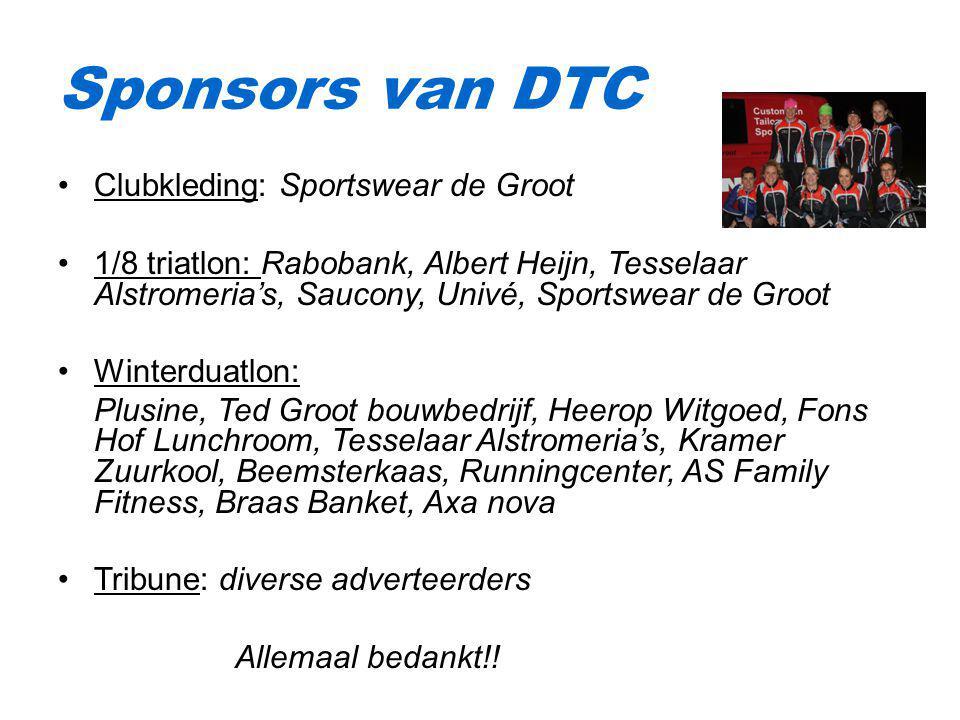 Clubkleding: Sportswear de Groot 1/8 triatlon: Rabobank, Albert Heijn, Tesselaar Alstromeria's, Saucony, Univé, Sportswear de Groot Winterduatlon: Plu