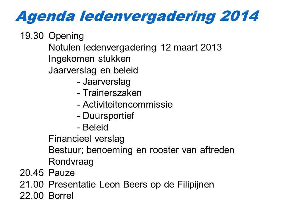19.30 Opening Notulen ledenvergadering 12 maart 2013 Ingekomen stukken Jaarverslag en beleid - Jaarverslag - Trainerszaken - Activiteitencommissie - D