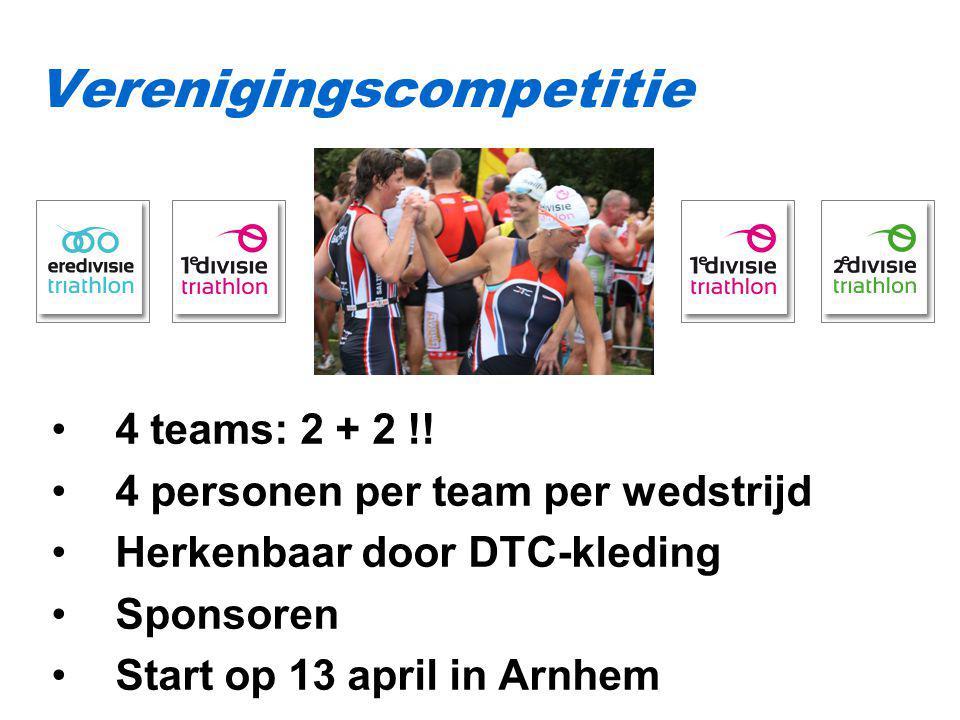 4 teams: 2 + 2 !! 4 personen per team per wedstrijd Herkenbaar door DTC-kleding Sponsoren Start op 13 april in Arnhem Verenigingscompetitie