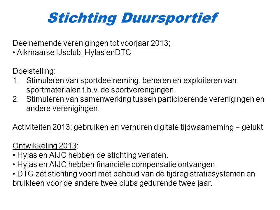 Stichting Duursportief Deelnemende verenigingen tot voorjaar 2013; Alkmaarse IJsclub, Hylas enDTC Doelstelling: 1.Stimuleren van sportdeelneming, behe