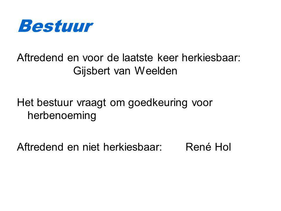 Aftredend en voor de laatste keer herkiesbaar: Gijsbert van Weelden Het bestuur vraagt om goedkeuring voor herbenoeming Aftredend en niet herkiesbaar: