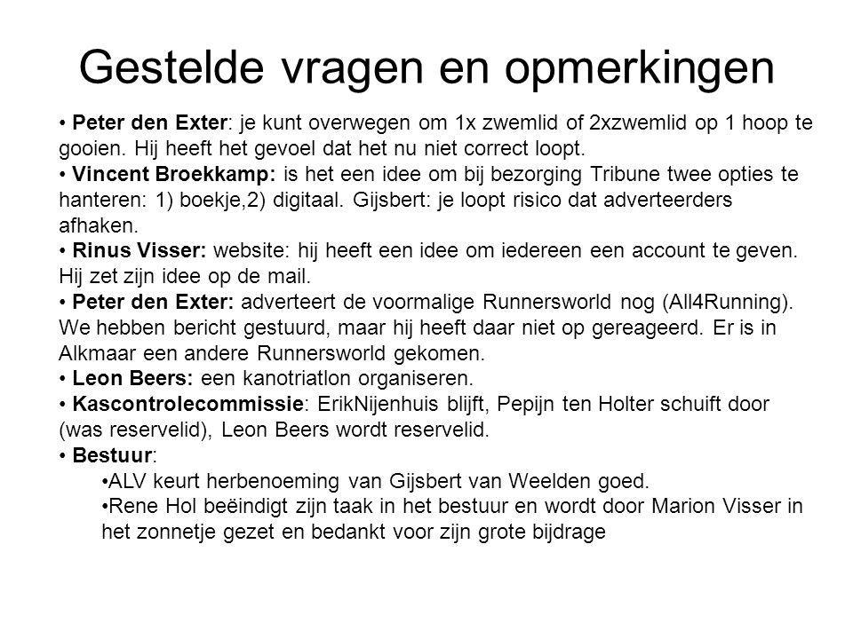 Gestelde vragen en opmerkingen Peter den Exter: je kunt overwegen om 1x zwemlid of 2xzwemlid op 1 hoop te gooien. Hij heeft het gevoel dat het nu niet