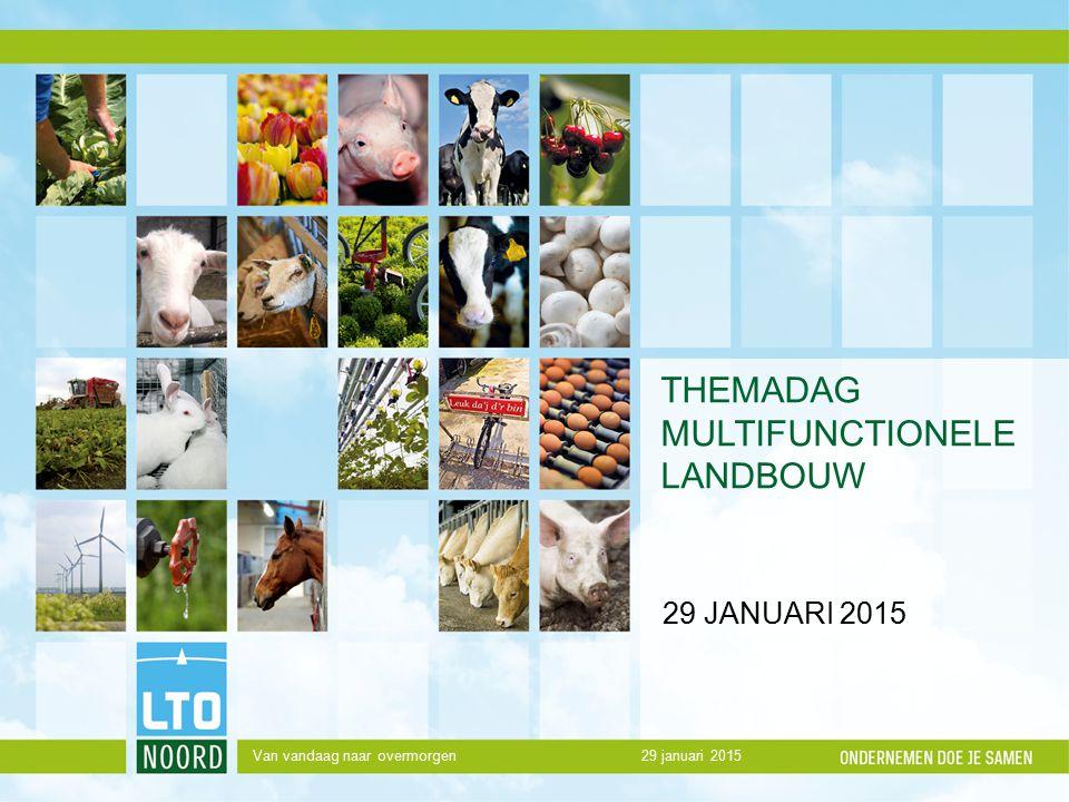 THEMADAG MULTIFUNCTIONELE LANDBOUW 29 JANUARI 2015 29 januari 2015Van vandaag naar overmorgen