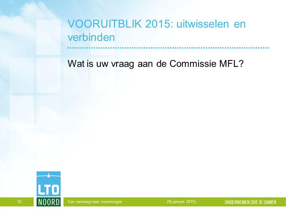 VOORUITBLIK 2015: uitwisselen en verbinden Wat is uw vraag aan de Commissie MFL.