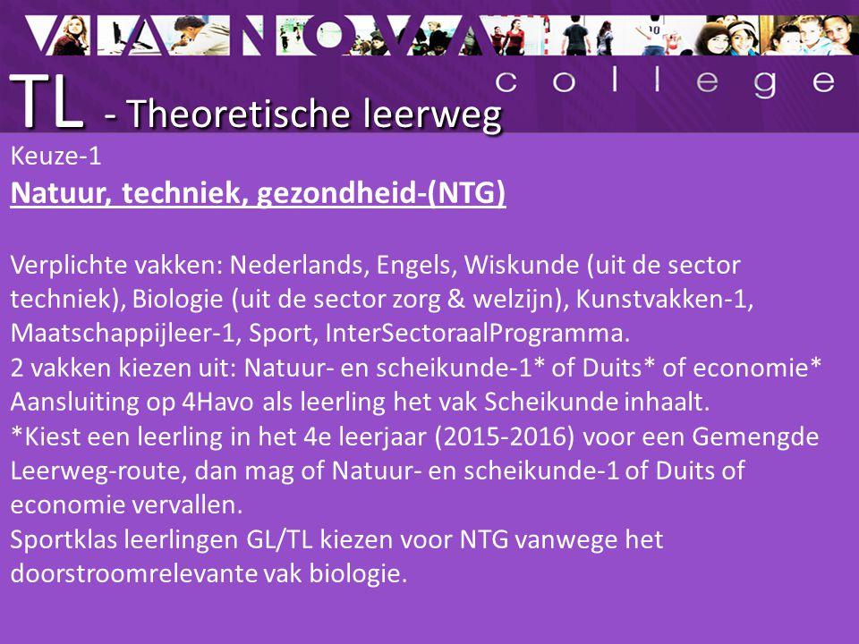 TL - Theoretische leerweg Keuze-1 Natuur, techniek, gezondheid-(NTG) Verplichte vakken: Nederlands, Engels, Wiskunde (uit de sector techniek), Biologi