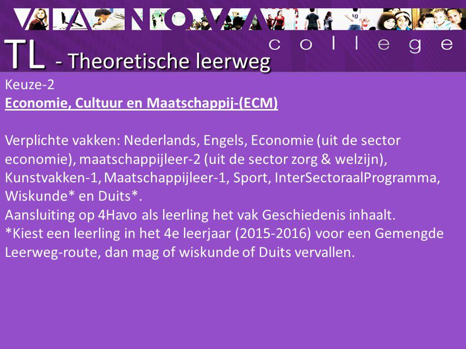 Keuze-2 Economie, Cultuur en Maatschappij-(ECM) Verplichte vakken: Nederlands, Engels, Economie (uit de sector economie), maatschappijleer-2 (uit de s