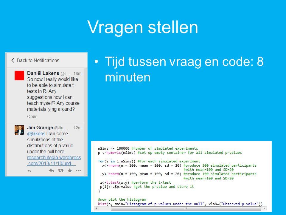 Vragen stellen Tijd tussen vraag en code: 8 minuten