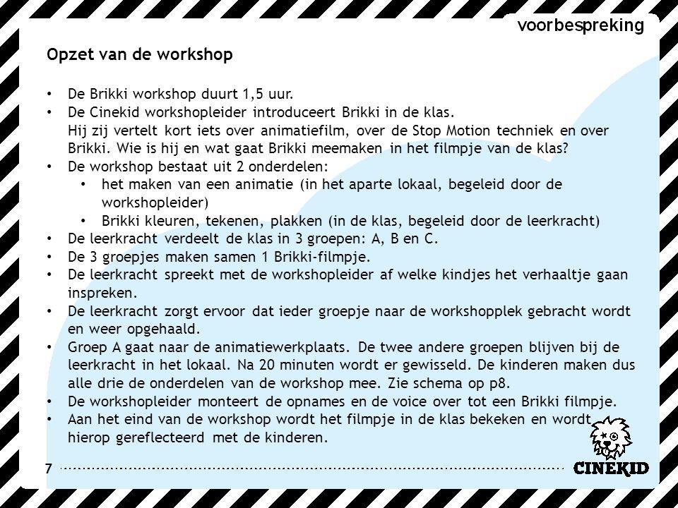 7 Opzet van de workshop De Brikki workshop duurt 1,5 uur. De Cinekid workshopleider introduceert Brikki in de klas. Hij zij vertelt kort iets over ani