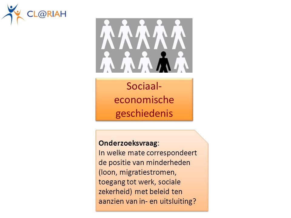 Sociaal- economische geschiedenis Onderzoeksvraag: In welke mate correspondeert de positie van minderheden (loon, migratiestromen, toegang tot werk, sociale zekerheid) met beleid ten aanzien van in- en uitsluiting.
