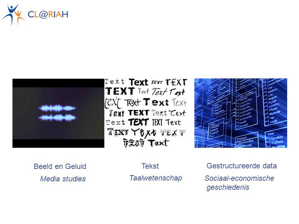 Tekst Beeld en Geluid Gestructureerde data Sociaal-economische geschiedenis Media studies Taalwetenschap