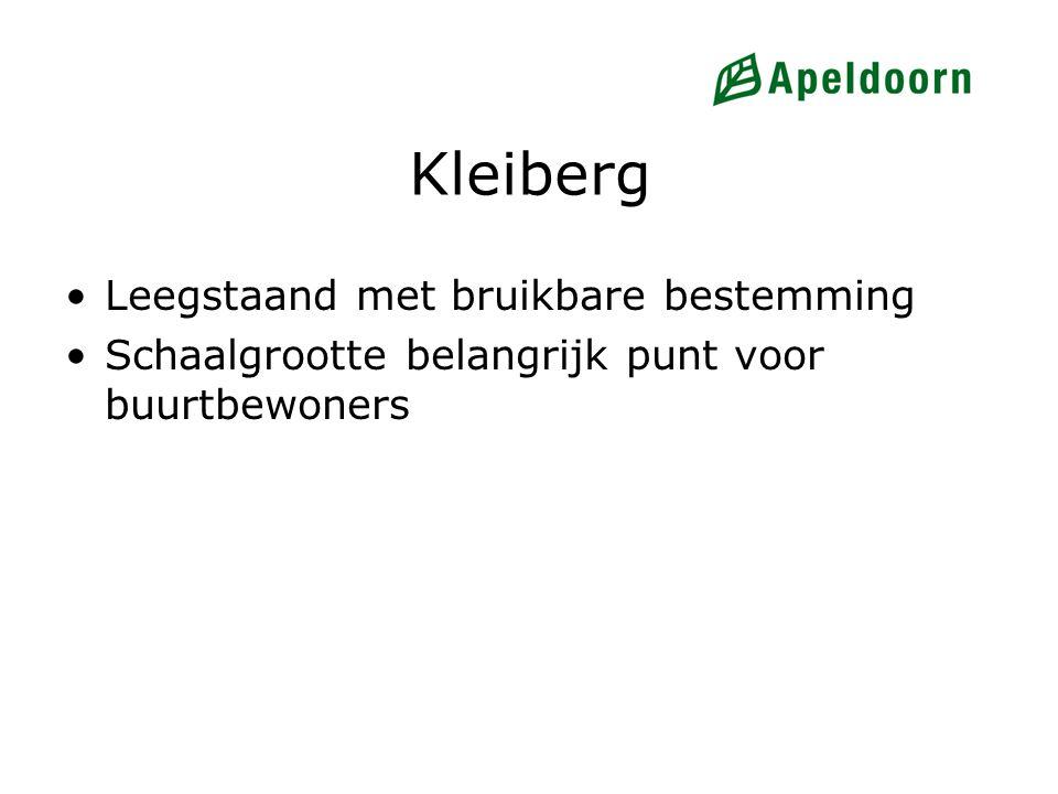 Kleiberg Leegstaand met bruikbare bestemming Schaalgrootte belangrijk punt voor buurtbewoners