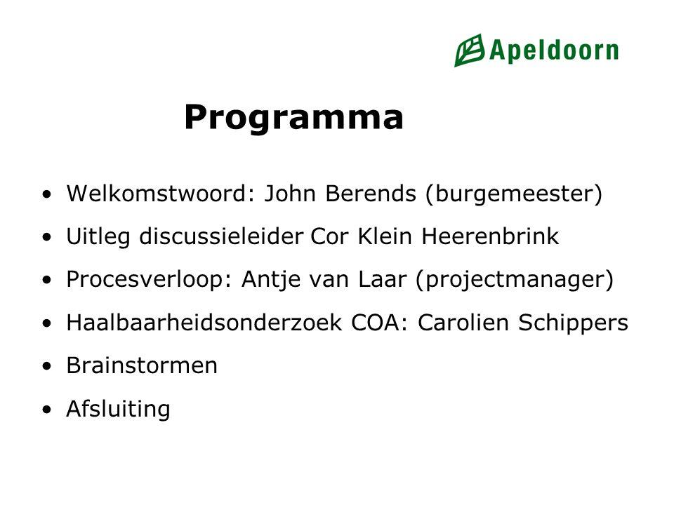 Programma Welkomstwoord: John Berends (burgemeester) Uitleg discussieleider Cor Klein Heerenbrink Procesverloop: Antje van Laar (projectmanager) Haalb