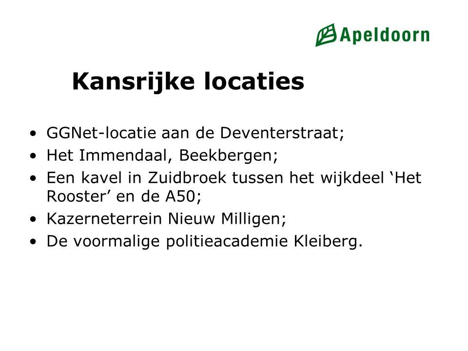 Kansrijke locaties GGNet-locatie aan de Deventerstraat; Het Immendaal, Beekbergen; Een kavel in Zuidbroek tussen het wijkdeel 'Het Rooster' en de A50;
